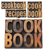 Cookbook and recipes. A collage of isolated words in vintage letterpress wood type, several layouts royalty free stock photo