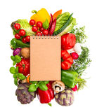 Cookbook for recipes with fresh organic vegetables Royalty Free Stock Image
