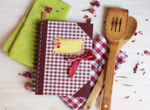 Cookbook for recipes on the napkin. Cookbook for recipeson the green napkin Stock Photography