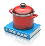 Cookbook and red pan. Red pan on the cookbook - 3D illustration Stock Photos