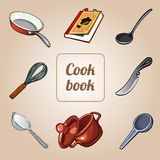 Cookbook set, eight vector icons of dishes Stock Photography