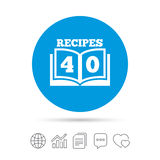 Cookbook sign icon. 40 Recipes book symbol. Royalty Free Stock Images