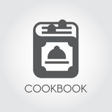 Cookbook vector icon on a gray background. Recipe book or symbol of menu. Web graphic pictograph for your design needs Stock Photography