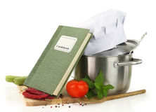 Cookbook, vegetables and casserole Royalty Free Stock Photo