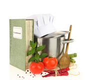 Cookbook, vegetables and casserole Stock Image
