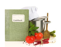 Cookbook, vegetables and casserole Royalty Free Stock Photography