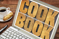 Cookbook word abstract on laptop screen Royalty Free Stock Photo