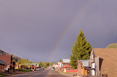 Cooke City rainbow. Small Montana town sports rainbow after rain stock images