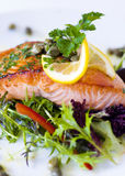 Cooked Alaskan Salmon With Vegetables, Lemon Slice And Garnishes Stock Photos