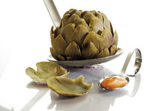 Cooked artichoke with Cocktail Sauce, close-up Stock Image