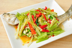 Cooked asian spicy fish Royalty Free Stock Images