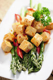 Food: Cooked Asparagus and marinated Tofu Royalty Free Stock Photos