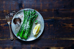 Cooked Asparagus On Plate Stock Photos