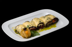 Cooked aubergine rolls Stock Photography