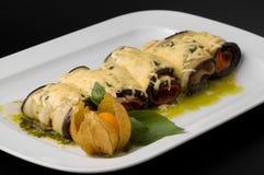 Cooked aubergine rolls Stock Photos