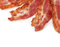 Cooked bacon rashers close-up isolated as a background. royalty free stock photography