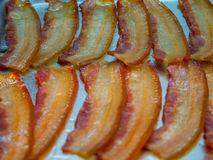 Cooked bacon rashers. Close-up slices Stock Photos