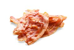 Cooked bacon rashers on background Royalty Free Stock Images