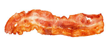 Cooked bacon strip close-up isolated on a white background. royalty free stock images