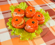 Cooked baked stuffed tomato Royalty Free Stock Photos