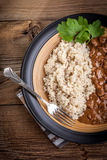 Cooked barley stew of pork. Stock Images