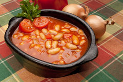 Cooked beans. In a clay vessel Stock Images