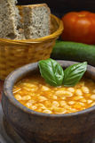 Cooked beans in clay bowl Stock Images