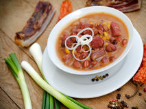 Cooked beans with smoked meat Stock Photos