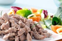 Cooked beef , closeup Stock Photos
