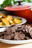 Cooked beef slices on plate Stock Image