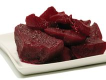 Cooked Beets. On a square white plate Stock Image