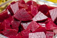 Cooked beets, sliced. Selective focus. Macro shoot. royalty free stock photos