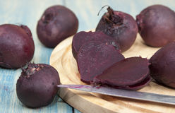 Cooked beets. On the table and cutting board Royalty Free Stock Image