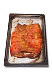 Cooked belly pork in tray Royalty Free Stock Images