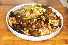 Cooked black fungus  with pork ,chinese food Stock Photo