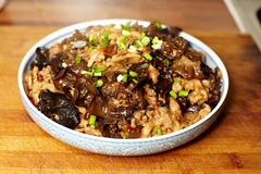 Cooked black fungus  with pork Stock Photo