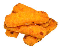 Cooked Breadcrumb Coated Fish Fingers. Isolated on a white background Stock Images