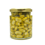 Cooked broad beans in a glass jar Stock Photo