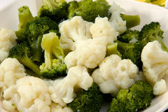 Cooked broccoli and cauliflower Stock Photo