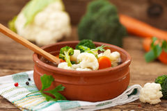 Cooked broccoli, cauliflower and carrot soup Stock Photos