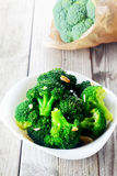 Cooked Broccoli Veggies on White Bowl Royalty Free Stock Image