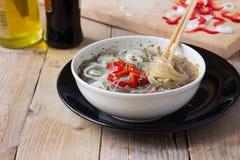 Cooked Cellophane noodles in a bowl Stock Photos