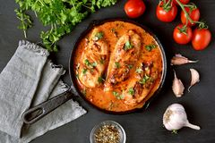 Chicken breast with tomato sauce Royalty Free Stock Images