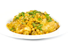 Cooked Chicken with Chickpeas and Parsley Stock Photo