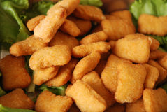 Cooked chicken nuggets stock photo