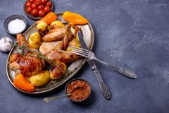 Cooked chicken and sauce Stock Image