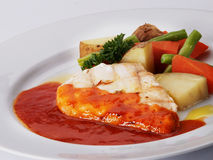 Cooked chicken with vegetables Stock Photography