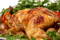 Cooked chicken with vegetables Royalty Free Stock Images