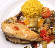 Cooked chicken with vegetables Royalty Free Stock Image