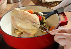 Cooked chicken and vegetables Stock Photography